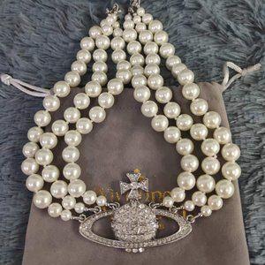 Vivienne Westwood Kylie Pearl Necklace Silver